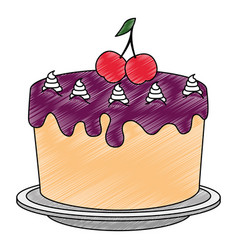 Sweet and delicious cake with cherries vector
