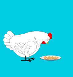 the chicken is going to peck the grain vector image