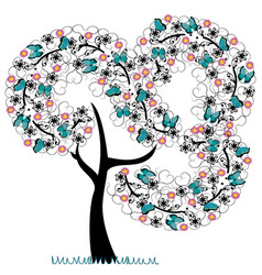 Tree with florishes with butterflies vector