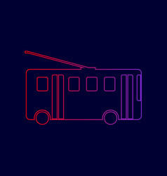 trolleybus sign line icon with gradient vector image