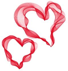Two abstract ribbon hearts vector