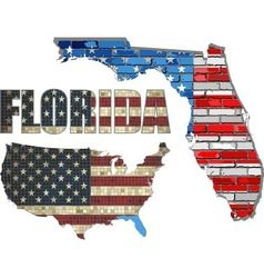 USA state of Florida on a brick wall vector