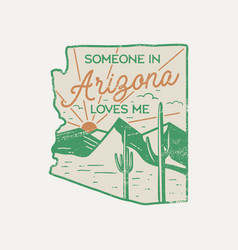 vintage arizona badge retro style us state patch vector image
