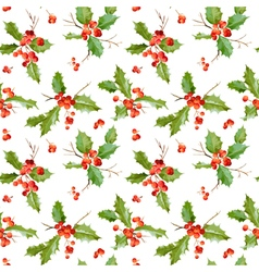 Vintage Holly Berry Background Seamless Christmas vector