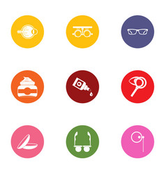 Visual icons set flat style vector