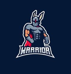 warrior mascot logo design with modern vector image