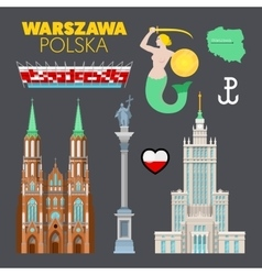 Warsaw Poland Travel Doodle with Architecture vector
