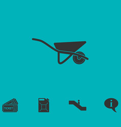 Wheelbarrow icon flat vector