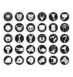 Wild animals head silhouette set vector