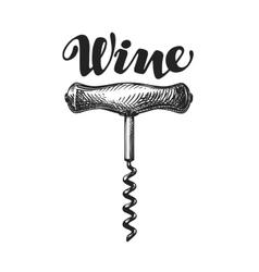 Wine corkscrew sketch vector