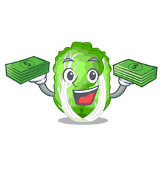 With money cartoon fresh chinese cabbage vegetable vector