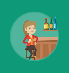 woman sitting at the bar counter vector image