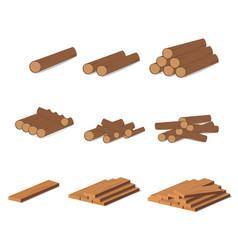 wooden logs brown bark of felled dry wood vector image