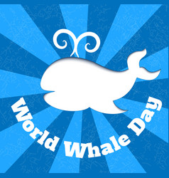 world oceans day card with whale silhouette and vector image