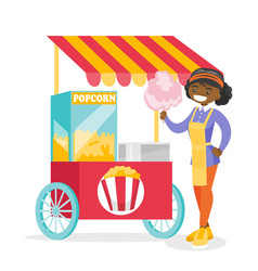 Young african street seller selling cotton candy vector