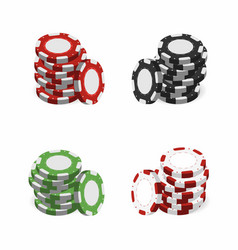 casino chips in stack isolated on white vector image vector image