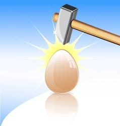 Egg and hammer vector