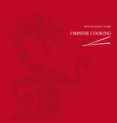 Menu chinese restaurant red background vector