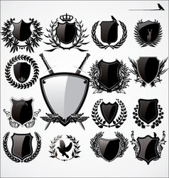 shields and laurel wreath set vector image