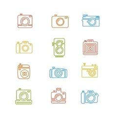 Vintage Photo Camera Colorful Icon Line Art vector image vector image