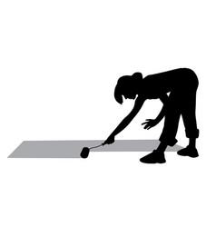 woman painting floor vector image