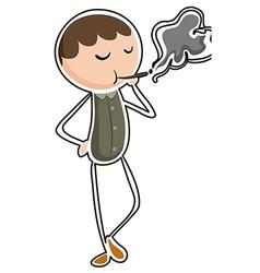 A man smoking vector image vector image