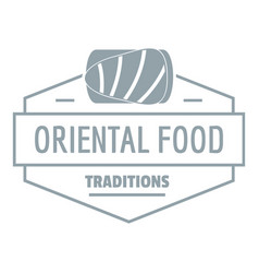 oriental food logo simple gray style vector image