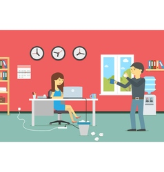 Woman working with a laptop and resting man with a vector image vector image