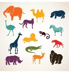 african animals stylized silhouettes vector image