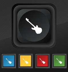 Guitar icon symbol Set of five colorful stylish vector image