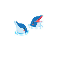 icons of happy dolphin portraits vector image vector image