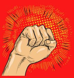pop art fist hitting or vector image