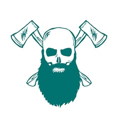 Skull with beard and Crossed Axes vector image vector image
