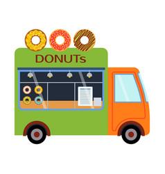 street food festival donuts trailer vector image vector image
