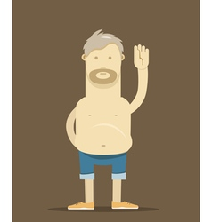 The old drunk man say Hello vector image vector image