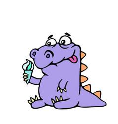 cartoon croc wants ice cream vector image