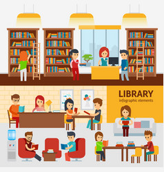 library interior with people reading books vector image vector image