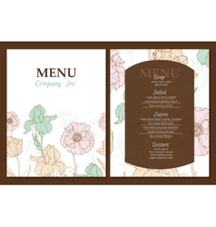 menu template design with vintage floral vector image