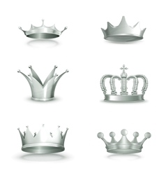Silver crowns set vector image vector image