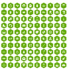 100 joy icons hexagon green vector
