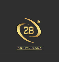28 years anniversary logo style with swoosh ring vector