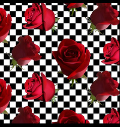A pattern with red roses with green leaves against vector