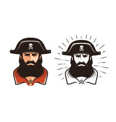 Angry pirate portrait of bearded filibuster in vector