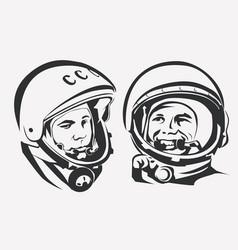 astronaut yuri gagarin stylized symbol first vector image