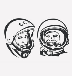 astronaut yuri gagarin stylized symbol the first vector image