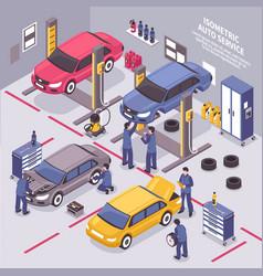 Auto service isometric vector
