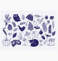 Autumn doodle collection fall set vector