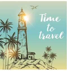 background with lighthouse and palms vector image