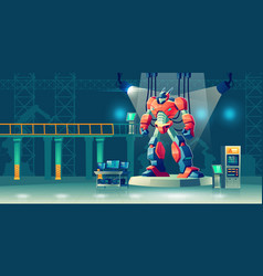 battle robot transformer in science laboratory vector image