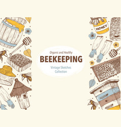 beekeping sketches circle vector image